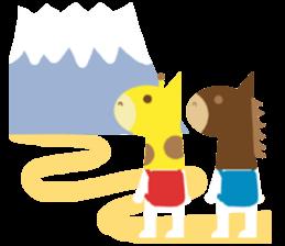 Horse and giraffe - Fall New Year ~ sticker #8473388