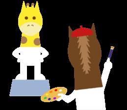 Horse and giraffe - Fall New Year ~ sticker #8473392