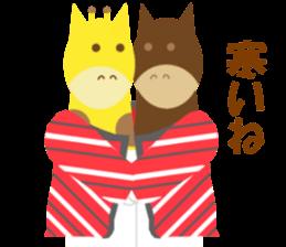 Horse and giraffe - Fall New Year ~ sticker #8473395