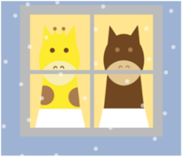 Horse and giraffe - Fall New Year ~ sticker #8473398