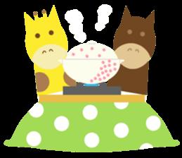 Horse and giraffe - Fall New Year ~ sticker #8473409