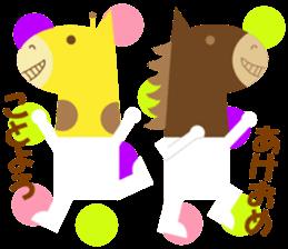 Horse and giraffe - Fall New Year ~ sticker #8473417