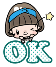 Cute girl with bobbed hair 2 sticker #8484916