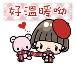 Cute girl with bobbed hair 2 sticker #8484925
