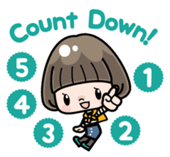 Cute girl with bobbed hair 2 sticker #8484940