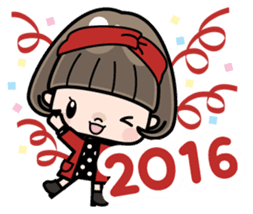 Cute girl with bobbed hair 2 sticker #8484942