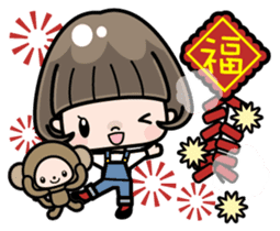 Cute girl with bobbed hair 2 sticker #8484951