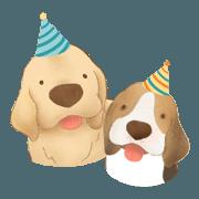 สติ๊กเกอร์ไลน์ Let's celebrate with doggies!