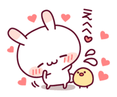 Sweet nothings of a rabbit and the chick sticker #8612584