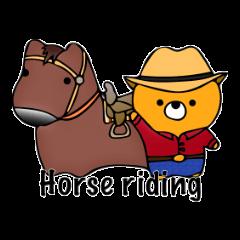 """Happy black bear """"ride a horse""""."""