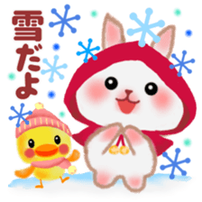 Winter pretty rabbit 2 sticker #8725441