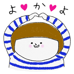 Stripe clothing girl of Hakata dialect