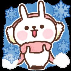Greeting winter rabbit