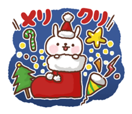 Greeting winter rabbit sticker #8772428