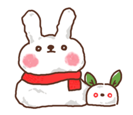 Greeting winter rabbit sticker #8772431