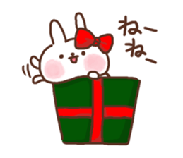 Greeting winter rabbit sticker #8772432