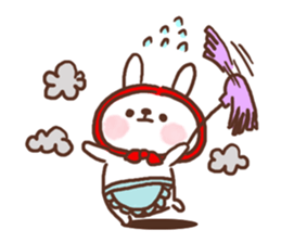 Greeting winter rabbit sticker #8772440