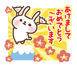 Greeting winter rabbit sticker #8772458