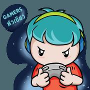 สติ๊กเกอร์ไลน์ Gamer Green Head