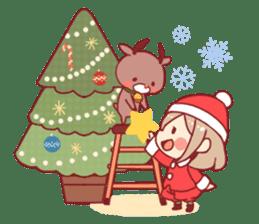 Santa girl & reindeer sticker #8860016