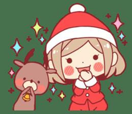Santa girl & reindeer sticker #8860017