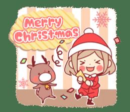 Santa girl & reindeer sticker #8860018