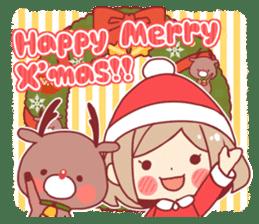 Santa girl & reindeer sticker #8860019