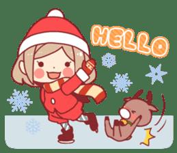Santa girl & reindeer sticker #8860020