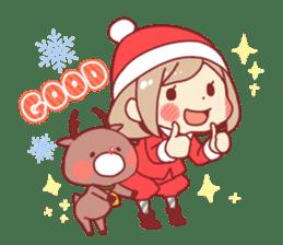 Santa girl & reindeer sticker #8860023
