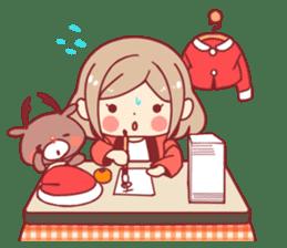 Santa girl & reindeer sticker #8860024