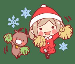 Santa girl & reindeer sticker #8860025