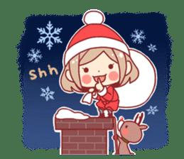 Santa girl & reindeer sticker #8860027