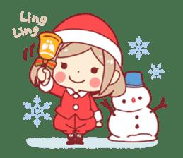 Santa girl & reindeer sticker #8860028
