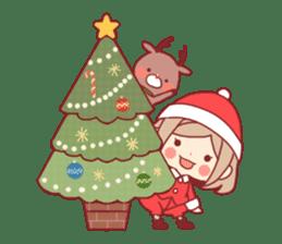 Santa girl & reindeer sticker #8860029