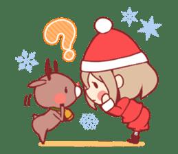Santa girl & reindeer sticker #8860030