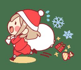 Santa girl & reindeer sticker #8860032