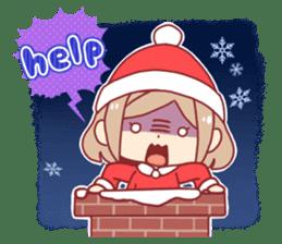 Santa girl & reindeer sticker #8860039