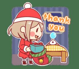 Santa girl & reindeer sticker #8860041