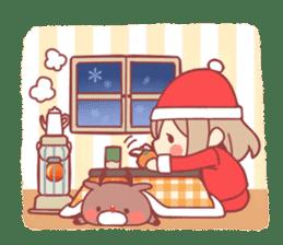 Santa girl & reindeer sticker #8860049