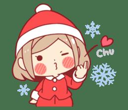 Santa girl & reindeer sticker #8860050