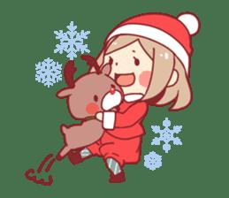 Santa girl & reindeer sticker #8860051