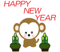 2016 Happy New Year Monkeys [English] sticker #8902497