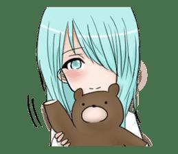 Cute girl and a teddy bear sticker #8927948