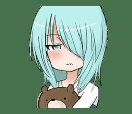 Cute girl and a teddy bear sticker #8927949