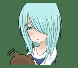Cute girl and a teddy bear sticker #8927951