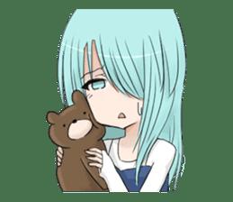 Cute girl and a teddy bear sticker #8927965