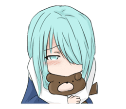 Cute girl and a teddy bear sticker #8927967