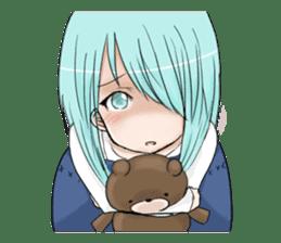 Cute girl and a teddy bear sticker #8927972