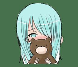 Cute girl and a teddy bear sticker #8927973