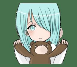 Cute girl and a teddy bear sticker #8927977